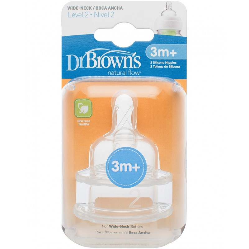 Dr. Brown's - Natural Flow Level 2 Wide Neck Nipples 3m+ 2pk