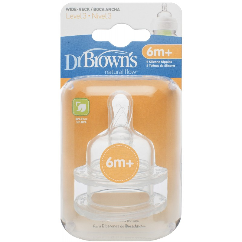 Dr. Brown's - Natural Flow Level 3 Wide Neck Nipples 6m+ 2pk
