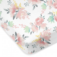 Kushies - Percale Crib Sheet - Multi Watercoulour Flowers