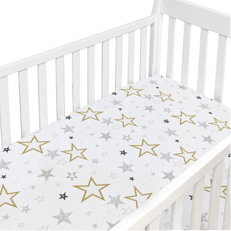 Kushies - Percale Crib Sheet - Golden Stars