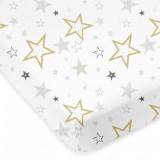 Kushies - Percale Crib Sheet - Golden Stars