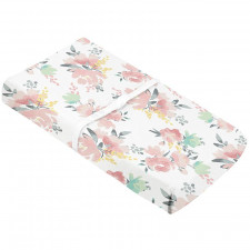 Kushies - Percale Change pad cover with slits for straps -  Watercolour Flowers