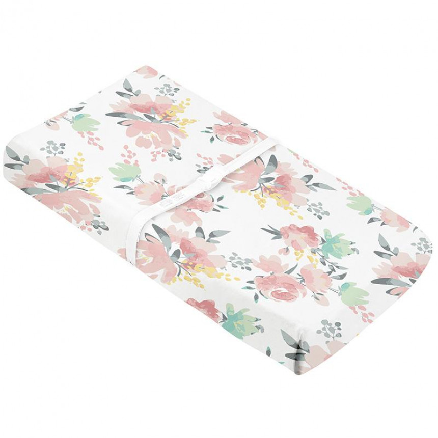 Kushies - Percale Changing pad covers with slits for straps - Multi Watercoulour Flowers