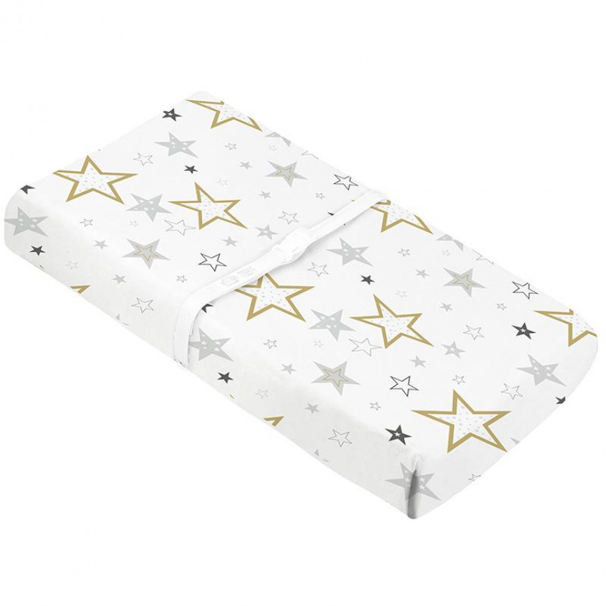 Kushies - Percale Changing pad covers with slits for straps - Golden Stars