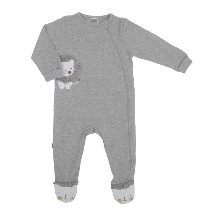 Kushies - Pyjamas à glissière latérale - Lion Gris