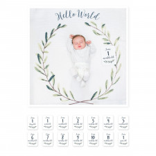 Lulujo - Baby's First Year Blanket & Card Set - Hello World
