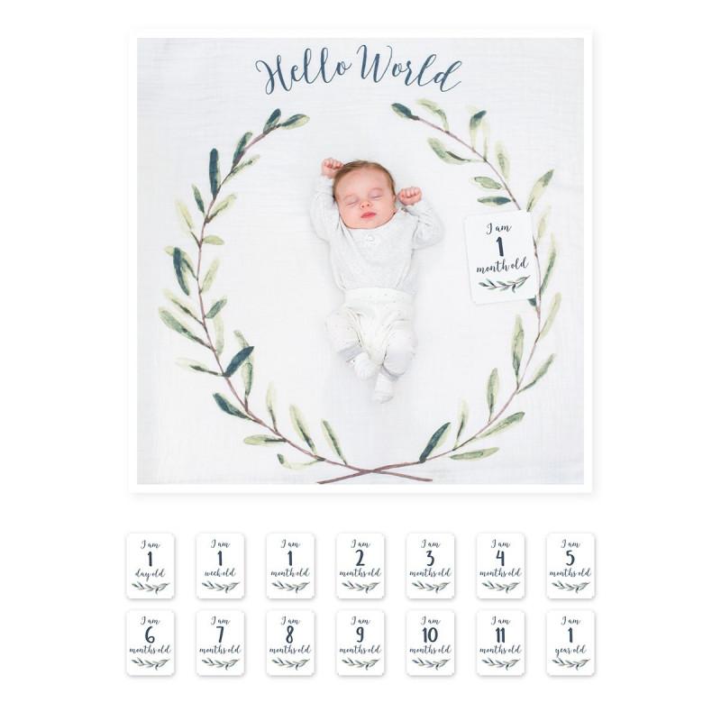 Lulujo - Baby's First Year Blanket & Card Set - Hello World