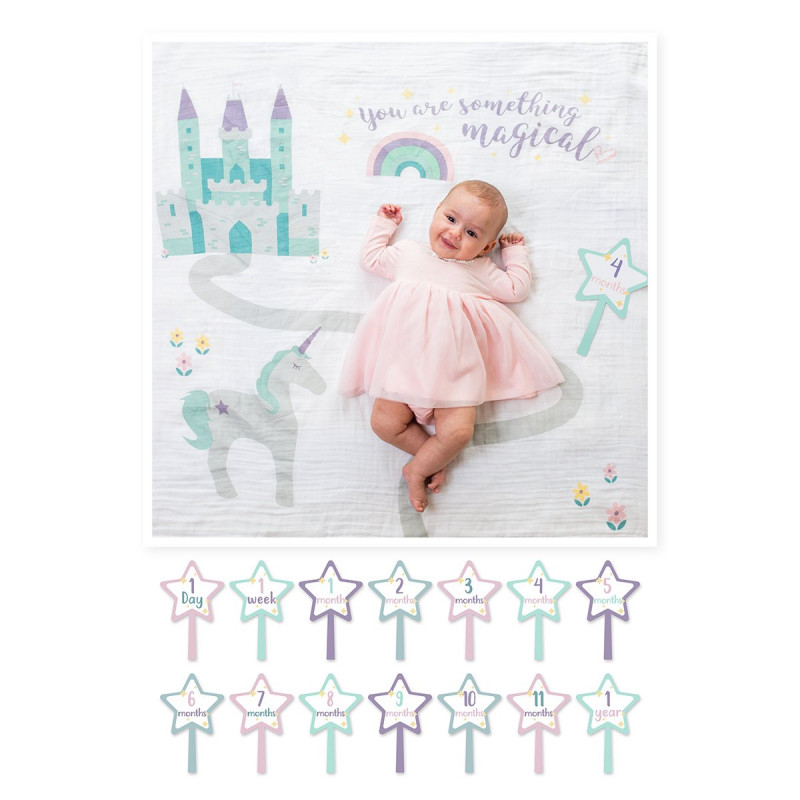 Lulujo - Baby's First Year Blanket & Card Set - Somthing Magical