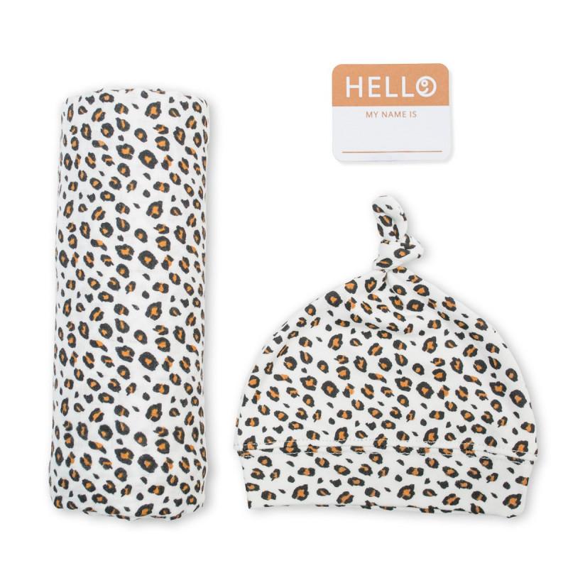 Lulujo - Hello World Swaddle Blanket & Hat