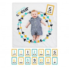 Lulujo - Baby's First Year Blanket & Card Set - Mon Petit Coeur