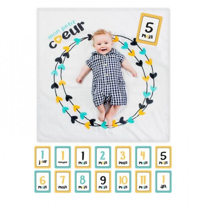 Lulujo - Baby's First Year Blanket & Card Set - Mon Petit Coeur