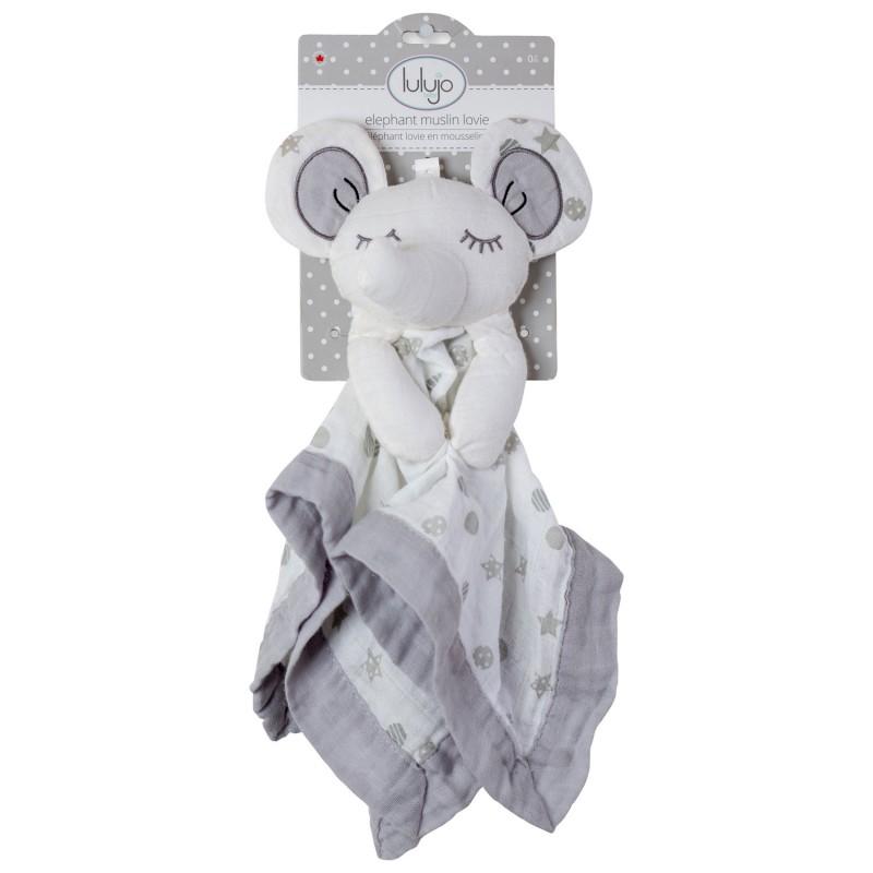 Lulujo - Security Blanket Lovie Grey Elephant