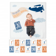 Lulujo - Baby's First Year Blanket & Card Set - Greatest Adventure