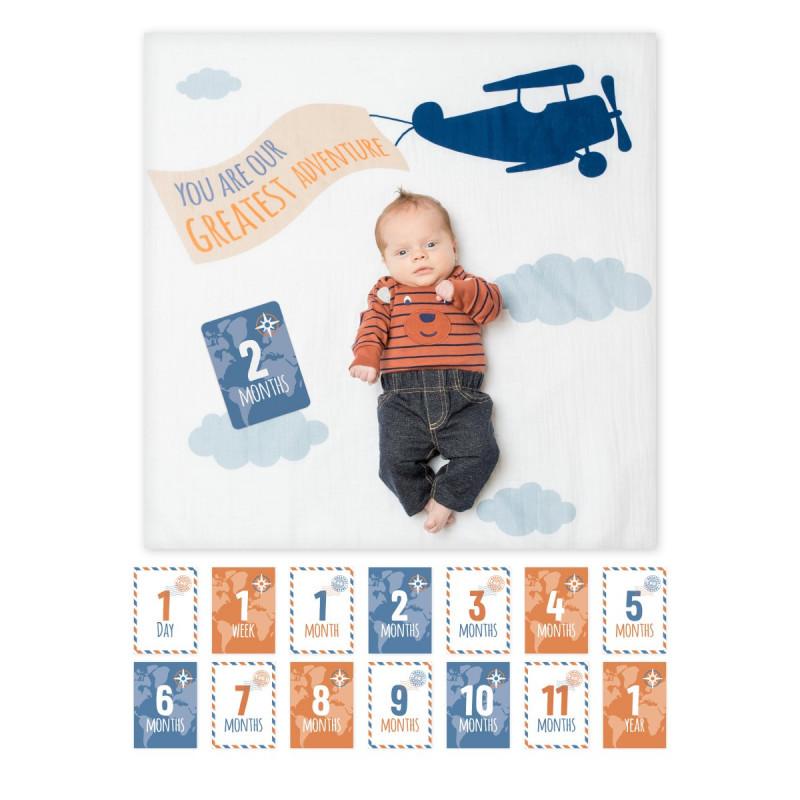 Lulujo - Baby's First Year Blanket & Card Set - Greatest Adventure