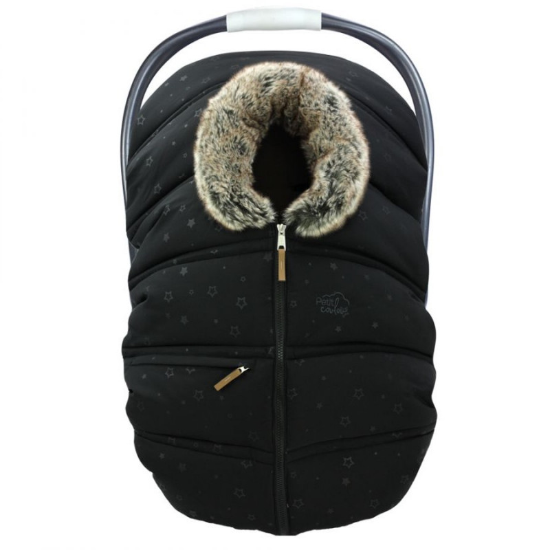 Petit Coulou - Winter Car Seat Cover - Black Stars/Wolf