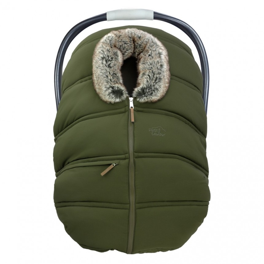 Petit Coulou - Winter Car Seat Cover - Khaki/Wolf