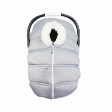 Petit Coulou - Winter Car Seat Cover - Light Grey/White