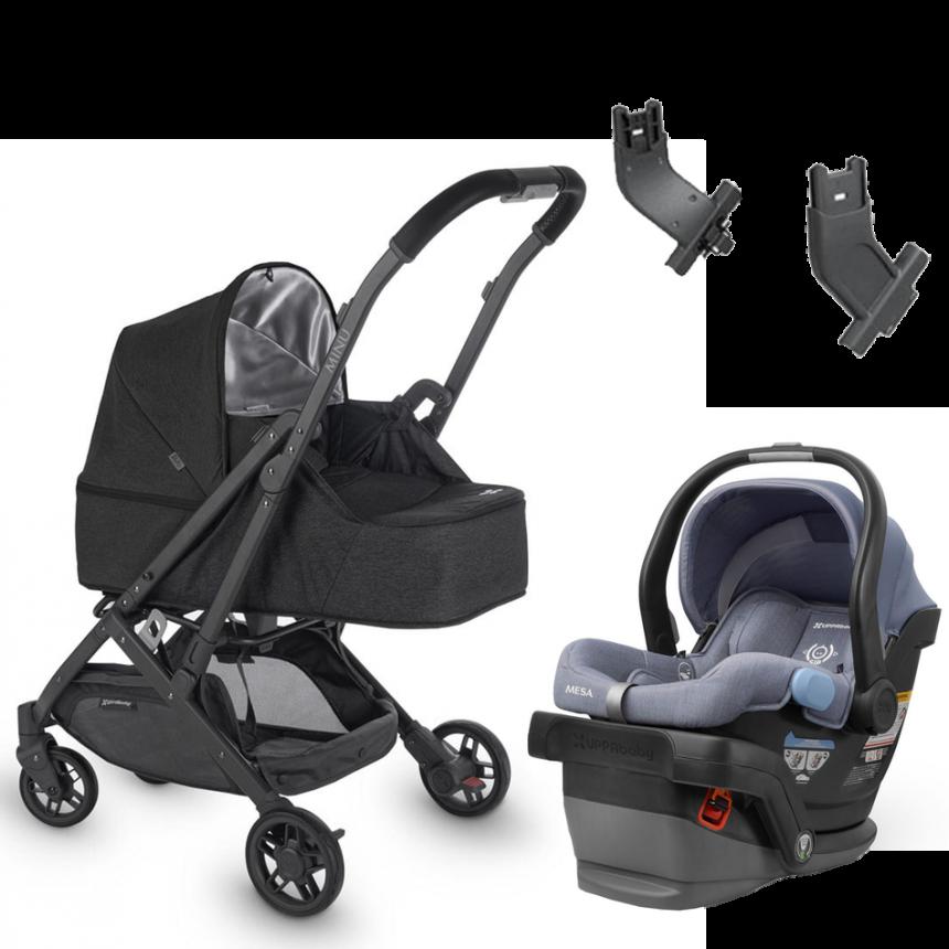 UppaBaby - Minu Travel Systeme (Jake) + Mesa Car Seat + Birth Kit (Jake or Jordan) + Adapters