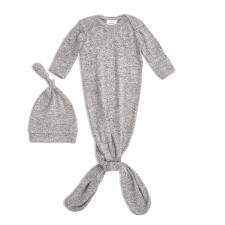 Aden + Anais - Snuggle Knit Knotted Gown & Hat - Heather Grey