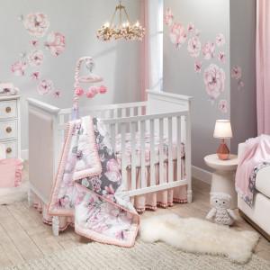 Lambs & Ivy - Botanical Baby Watercolor Floral 4-Piece Crib Bedding Set