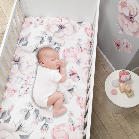 Lambs & Ivy - Botanical Baby Watercolor Floral 4-Piece Crib Bedding Set