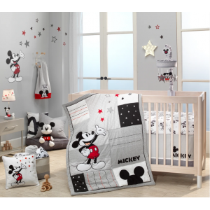 Lambs & Ivy - 4 Piece Crib Bedding Crib - Disney Baby Magical Mickey Mouse - Grey