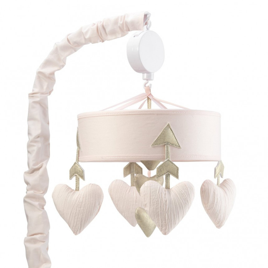 Lambs & Ivy - Pink/Gold Hearts and Arrows Musical Mobile