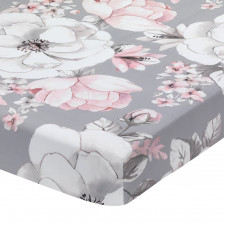 Lambs & Ivy - Botanical Crib Sheet - Grey Floral