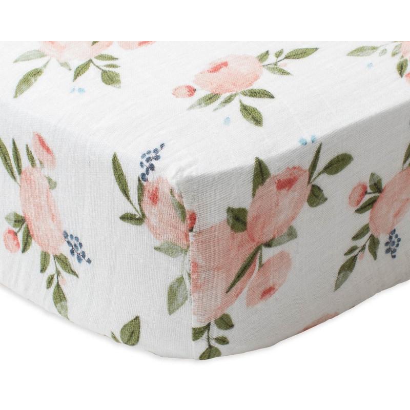 Little Unicorn - Cotton Muslin Crib Sheet - Watercolor Roses