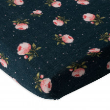 Little Unicorn - Cotton Muslin Crib Sheet - Midnight Roses