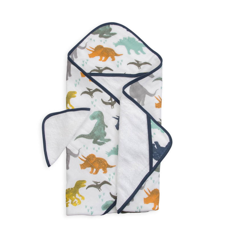 Little Unicorn - Hooded Towel and Washcloth Set - Dino Friends