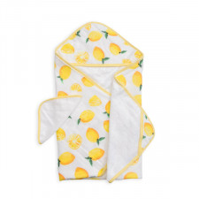 Little Unicorn - Hooded Towel and Washcloth Set - Lemon