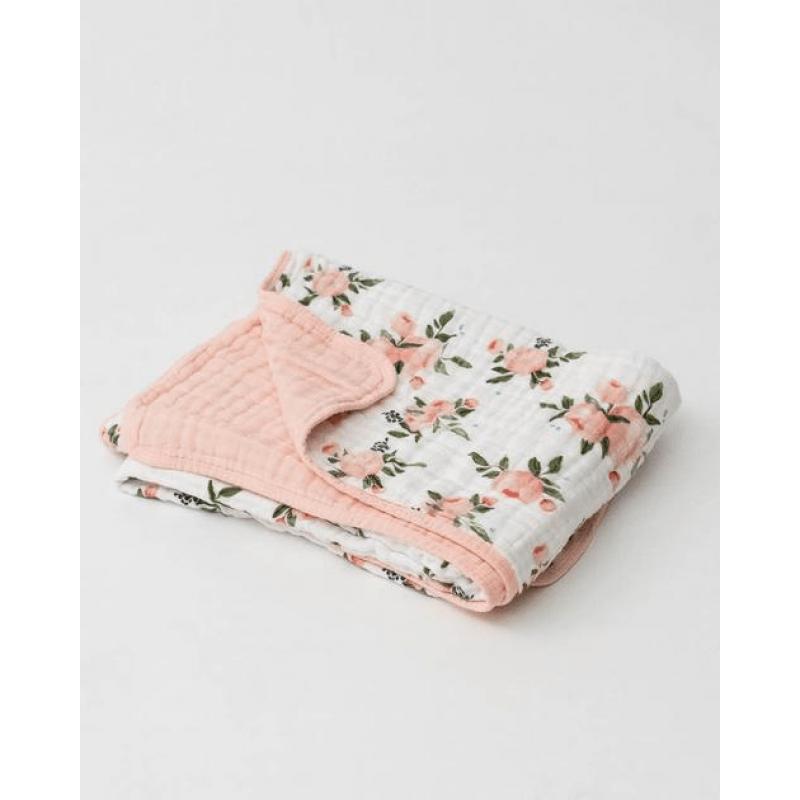 Little Unicorn - Cotton Muslin Quilt - Watercolor Roses