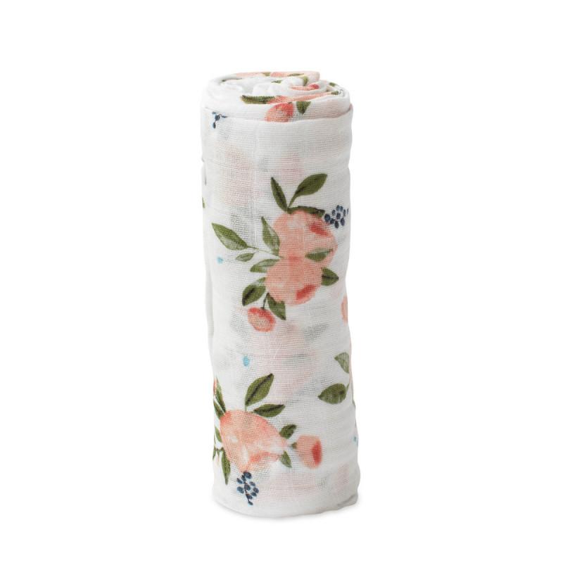Little Unicorn - Cotton Muslin Swaddle Single - Watercolor Roses