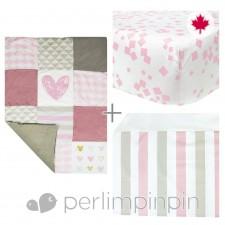 Perlimpinpin - 3 Pieces Crib Set - Pink Heart