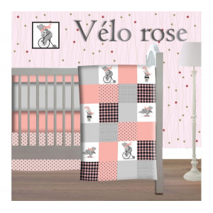 Pitchounette - 5 Piece Bedding Set-  Pink Bicycle