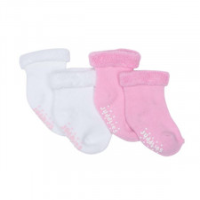 Juddlies - Infant Sock 2pk - Pink/White