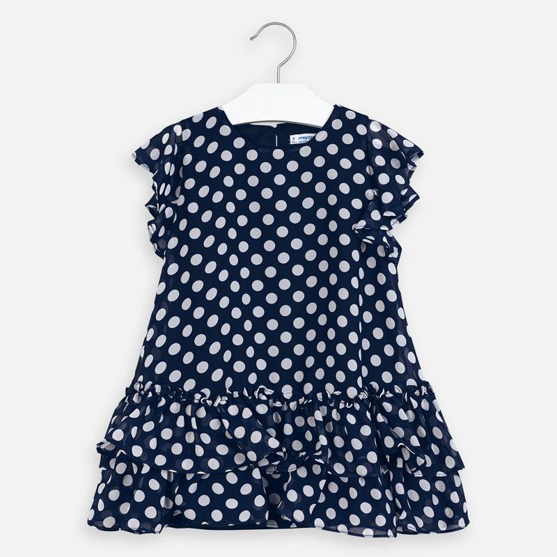 Mayoral - Navy Polka Dot Ruffle Dress