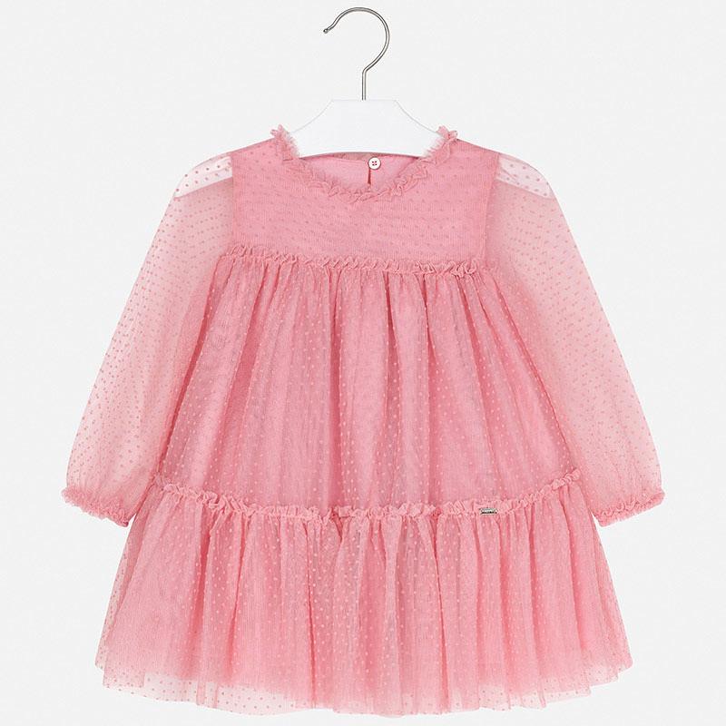 Mayoral - Long Sleeve Pink Polka Dot Dress