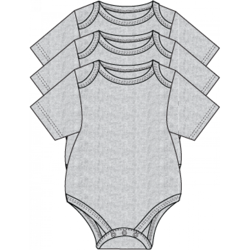 Necessities - 3 Pack Bodysuits - Grey