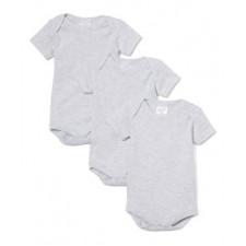 Necessities - 3 Pack Bodysuits - Grey