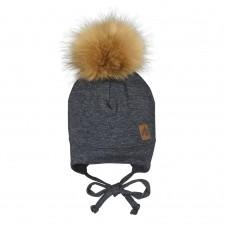 Perlimpinpin - Pompom Hat w/ Ears - Charcoal