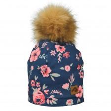 Perlimpinpin - Pompom Hat - Navy Flowers