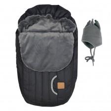 Perlimpinpin - Car Seat Cover + Hat - Black