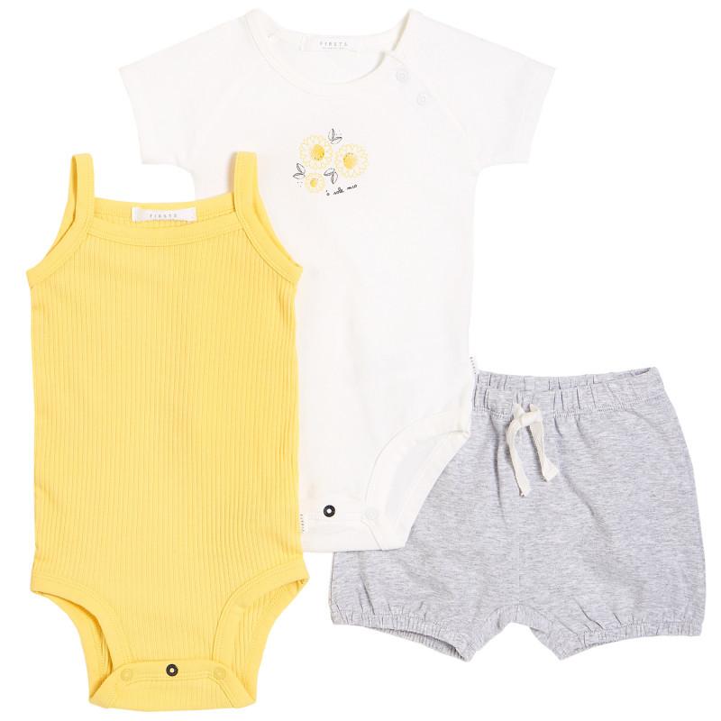 Petit Lem - Organic Outfit Set (3pcs) - Sunflowers