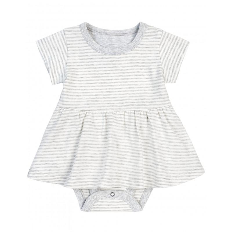 Petit Lem - Essential Peplum Dress - Grey Striped