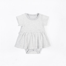 Petit Lem - Essential Peplum Dress - Grey Striped