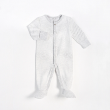 Petit Lem - Essentials Organic Cotton Sleeper - Grey Stripes