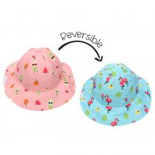 FlapJackKids - Reversible Sun Hat - Flamingo & Fruit - S (6m-2y)