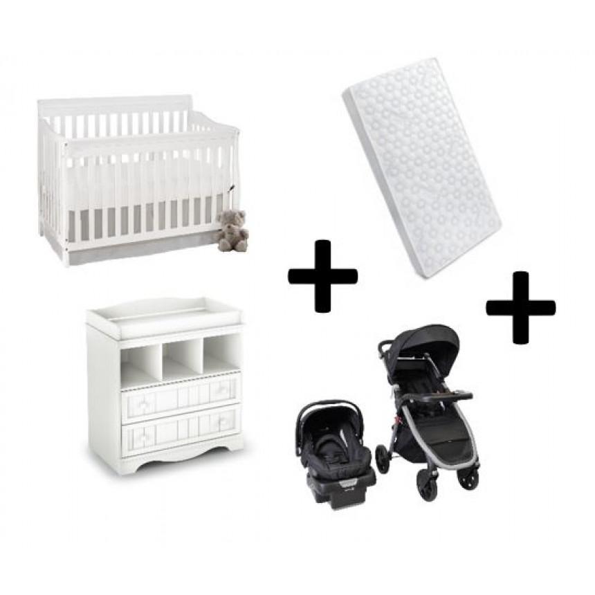 COMBO CARSON - Convertible Crib + Changing Table + Stroller + Car seat + Mattress